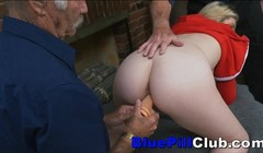Blonde Teen Sucks Off Two Old Grandpas Thumb
